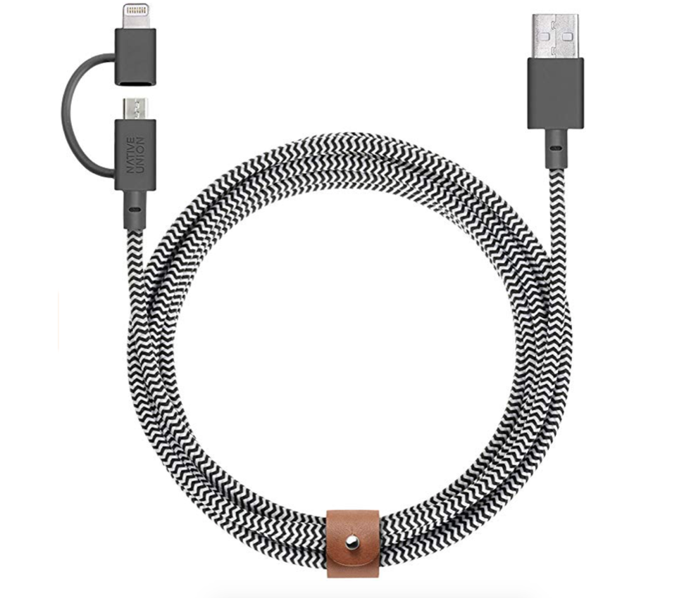 Native Union Belt Cable Twin Head Lightning and USB-C Cable 2m - Zebra at Small Dog Electronics