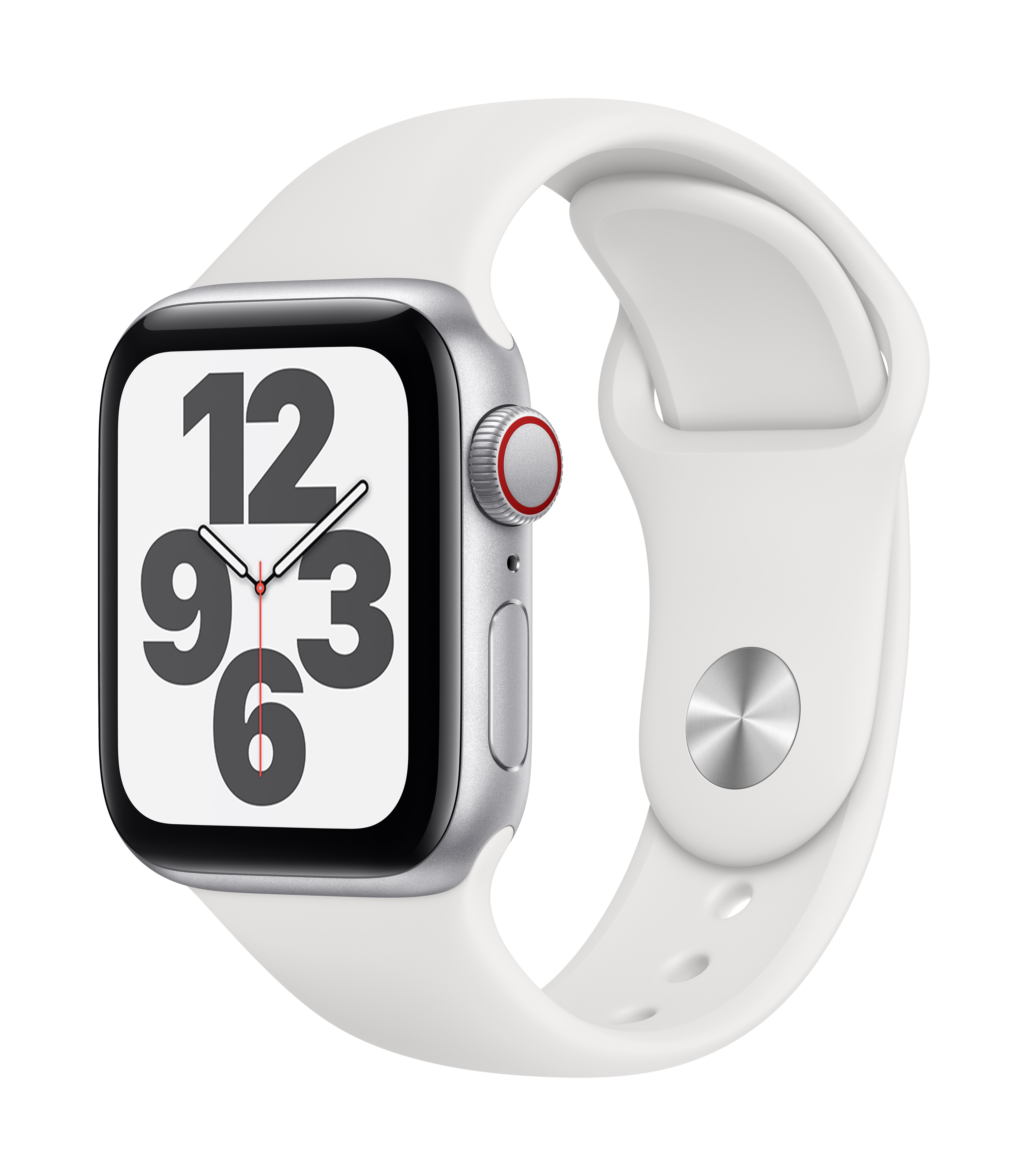Apple Watch SE GPS + Cellular 40mm Silver Aluminum w/ White Sport Band at Small Dog Electronics
