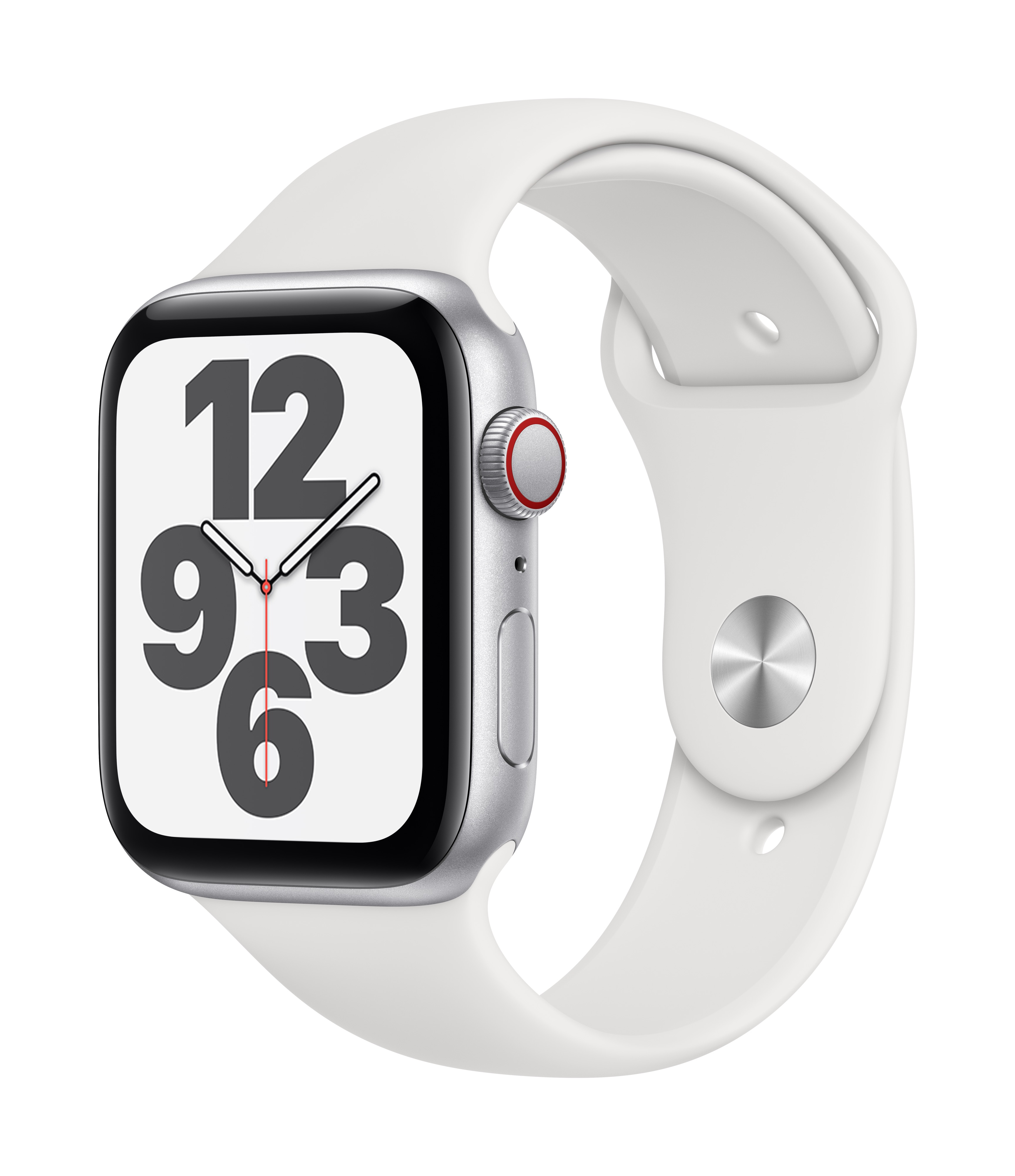 Apple Watch SE GPS + Cellular 44mm Silver Aluminum w/ White Sport Band at Small Dog Electronics