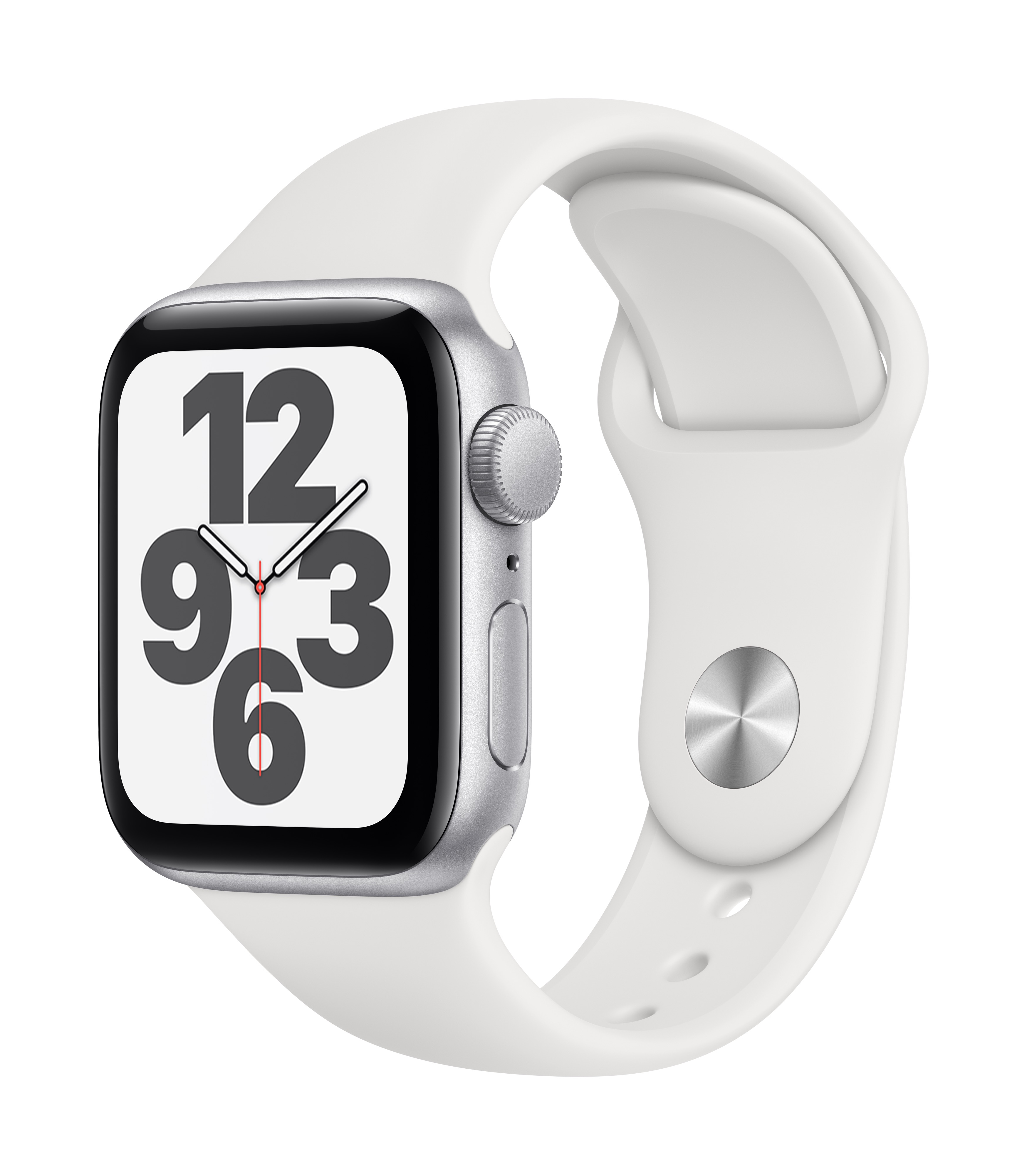 Apple Watch SE GPS 40mm Silver Aluminum w/ White Sport Band at Small Dog Electronics