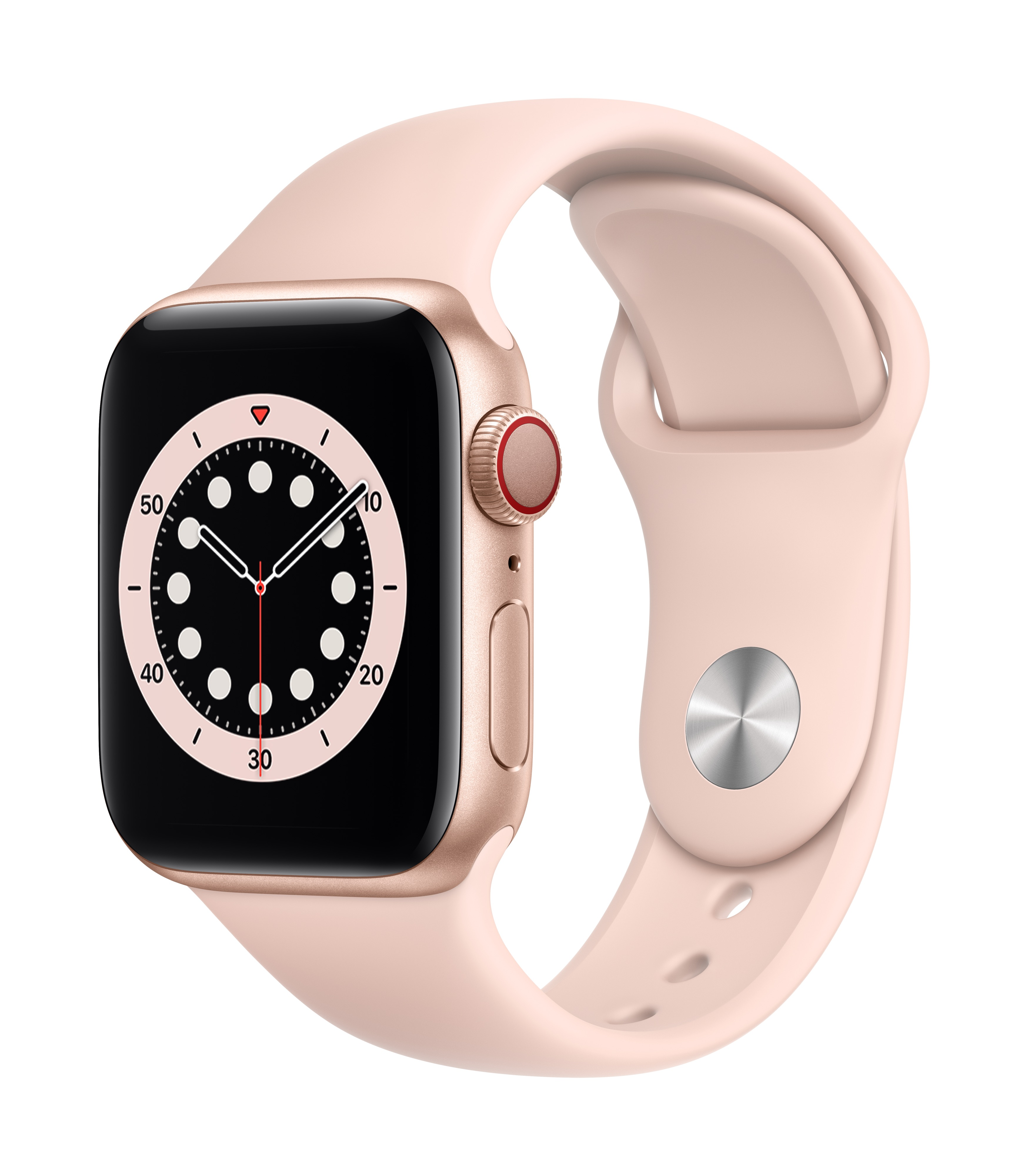Apple Watch Series 6 GPS + Cellular 40mm Gold Aluminum w/ Pink Sand Sport Band at Small Dog Electronics
