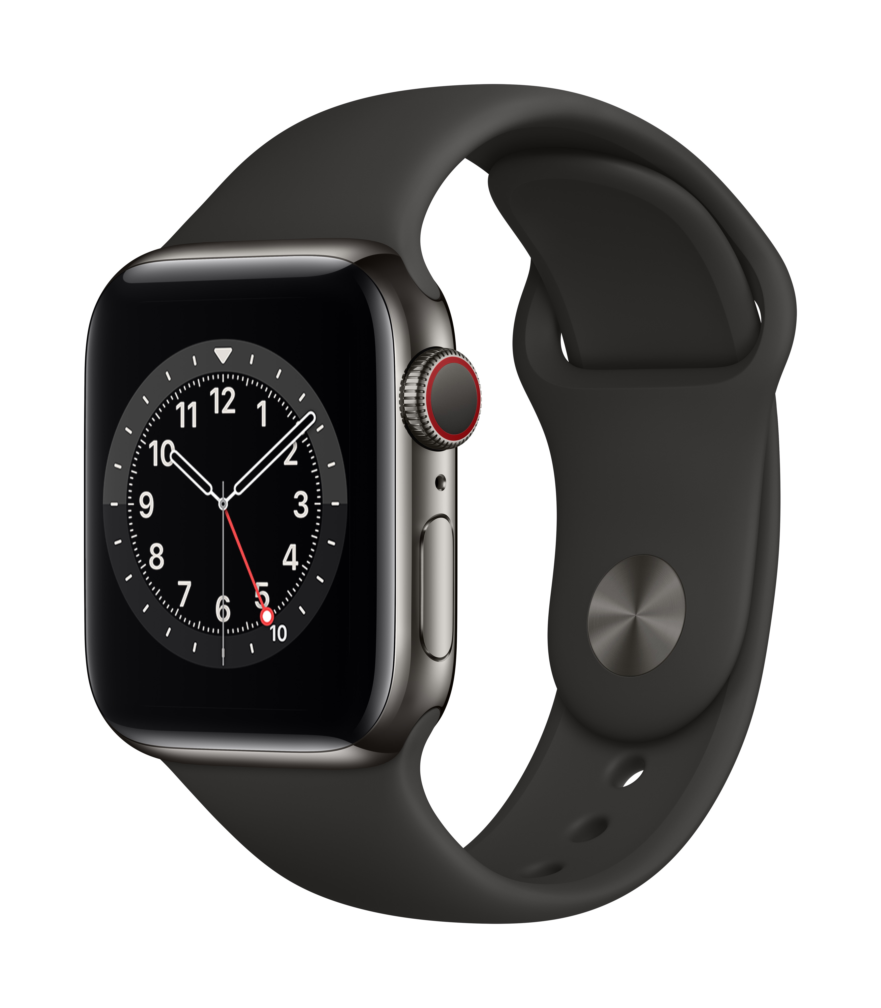 Apple Watch Series 6 GPS + Cellular 40mm Space Gray Aluminum w/ Black Sport Band at Small Dog Electronics
