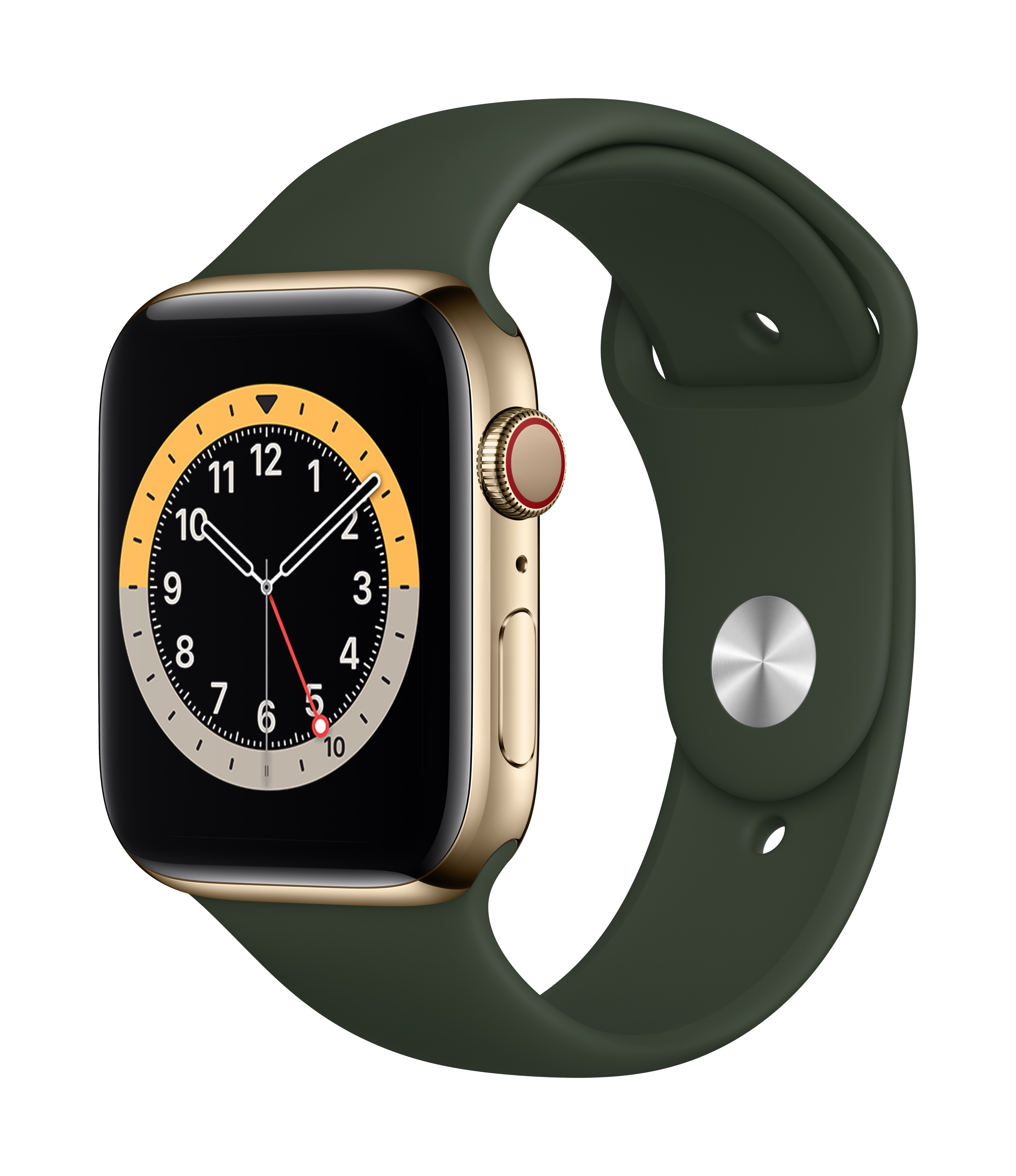 Apple Watch Series 6 GPS + Cellular 44mm Gold Stainless Steel Case w/ Cyprus Green Sport Band at Small Dog Electronics