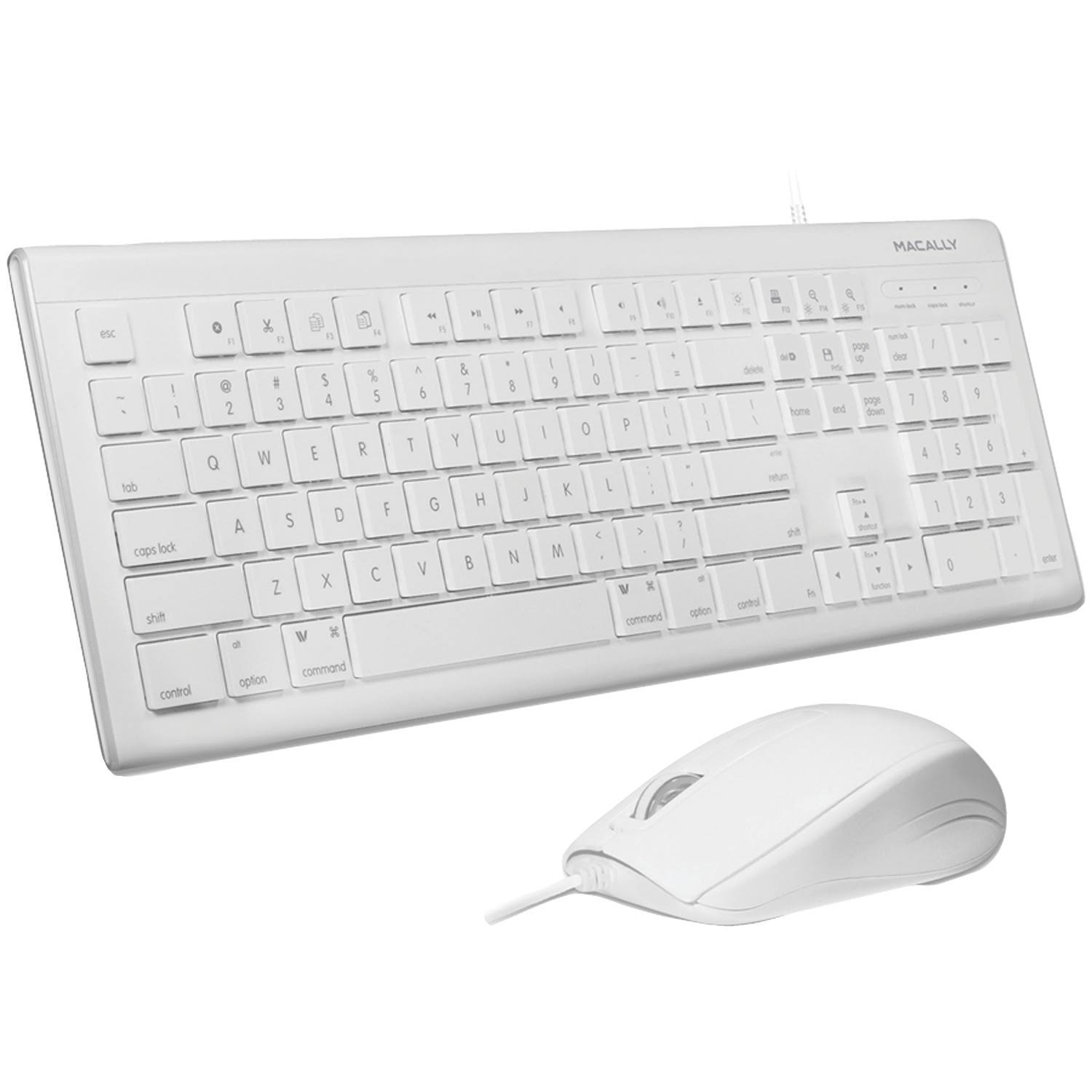 MacAlly 103 Key USB Keyboard and Mouse Combo - White at Small Dog Electronics