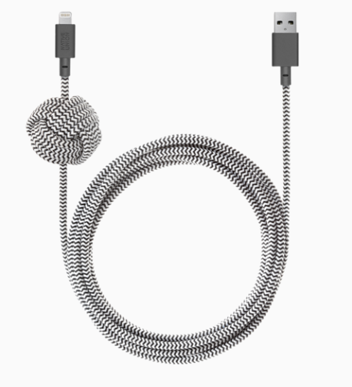 Native Union Night Cable Ultra Strength USB 3.0 to USB-C Cable 10ft - Zebra at Small Dog Electronics