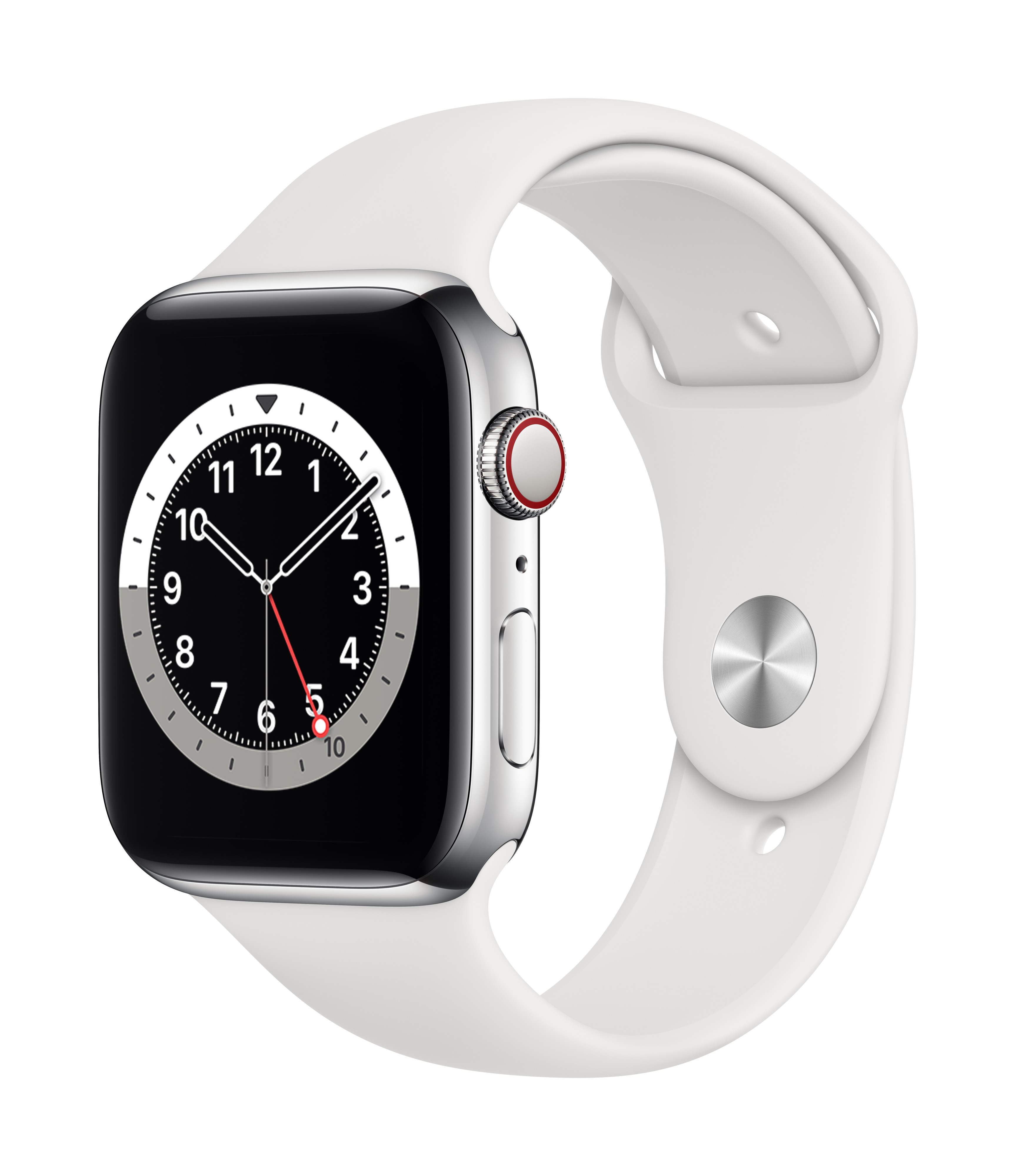 Apple_Watch_Series_6_Cellular_44mm_Silver_Stainless_Steel_White_Sport_Band_34R_Screen__USEN