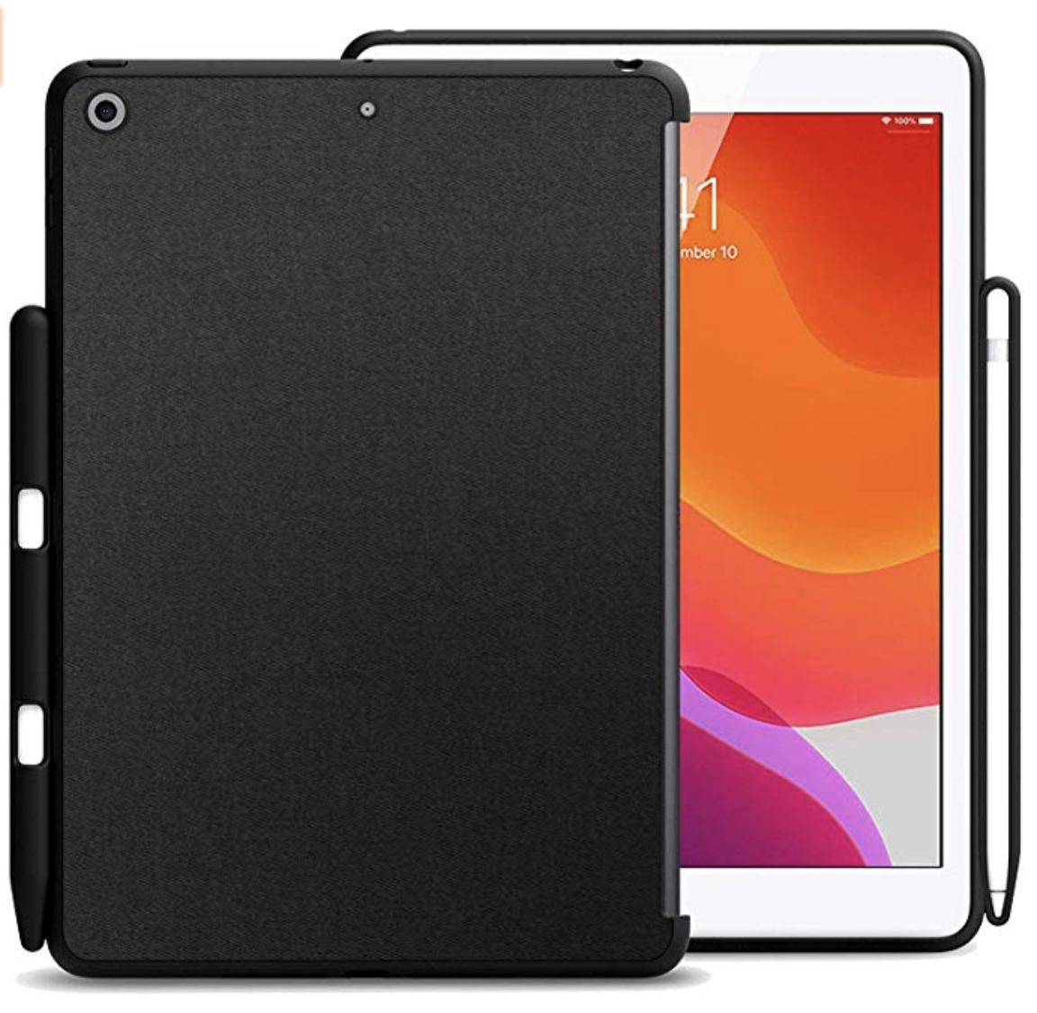 KHOMO iPad Case with Pencil Holder (2019 / 7th Generation) - Companion Back Cover - Black