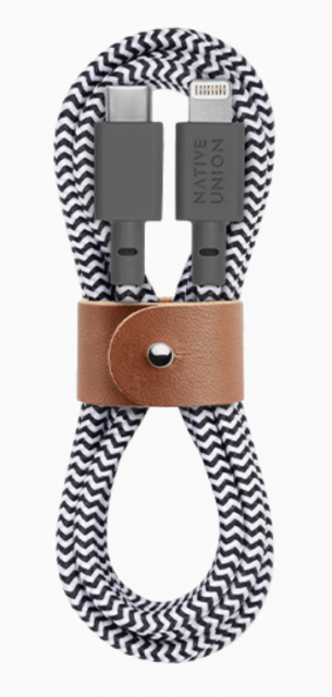 Native Union Belt Cable Ultra Strength USB-C to Lightning Cable 1.2m - Zebra
