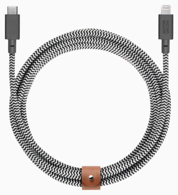 Native Union Belt Cable Ultra Strength Lightning to USB-C 3m - Zebra