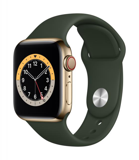 Apple Watch Series 6 GPS + Cellular 40mm Gold Stainless Steel Case w/ Cyprus Green Sport Band
