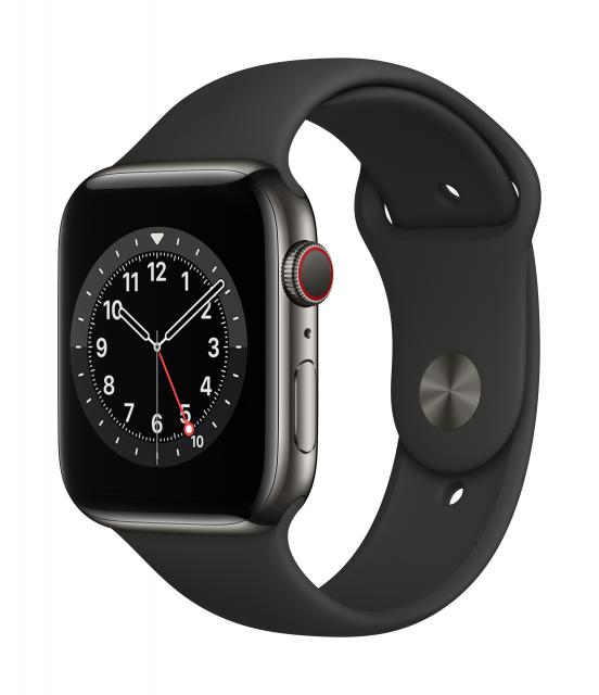 Apple Watch Series 6 GPS + Cellular 44mm Graphite Stainless Steel Case w/ Black Sport Band