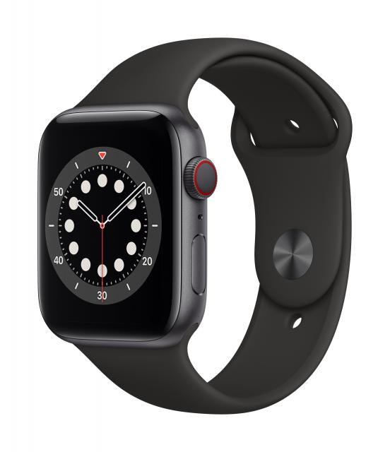 Apple Watch Series 6 GPS + Cellular 44mm Space Gray Aluminum w/ Black Sport Band