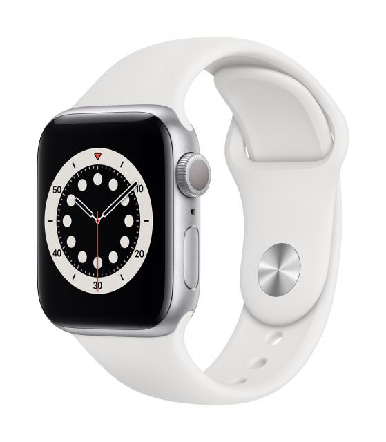 Apple Watch Series 6 GPS 40mm Silver Aluminum w/ White Sport Band