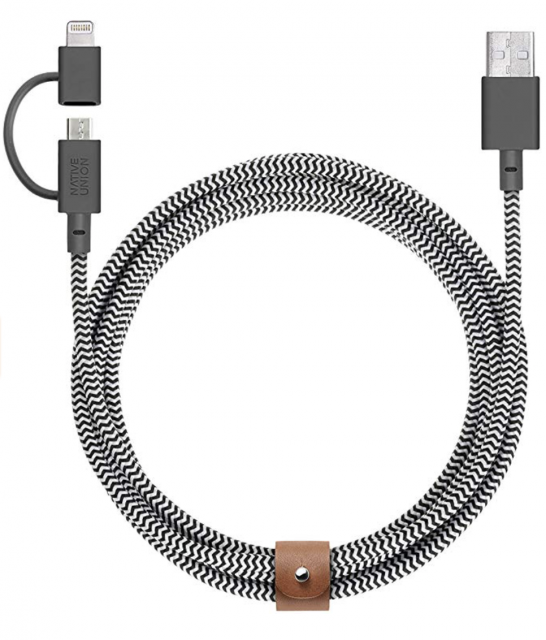 Native Union Belt Cable Twin Head Lightning Cable 2m - Zebra